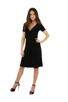 A-Line Wrap Dress, Cap Sleeves No Collar, Black