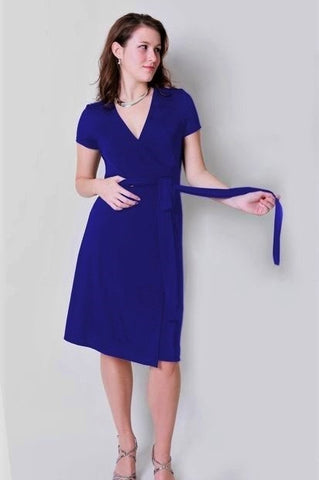 A-Line Wrap Dress, Powder Blue Shimmer