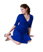 A-Line Wrap Dress,3/4 th Sleeves with Frill, Royal Blue
