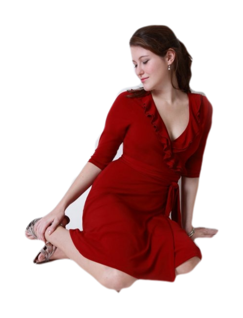 A-Line Wrap Dress,3/4 th Sleeves with Frill, Maroon