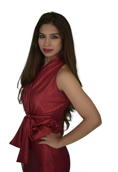 Sleeve Less Fan Belt Multi Way Faux Wrap Top - Shiny Foil Red (NEW!)