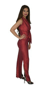 Ankle length skirt, with 2 side slits - Shiny Foil Red