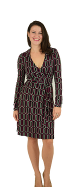 A-Line Wrap Dress, Long (Full) Sleeve, Black Geometric