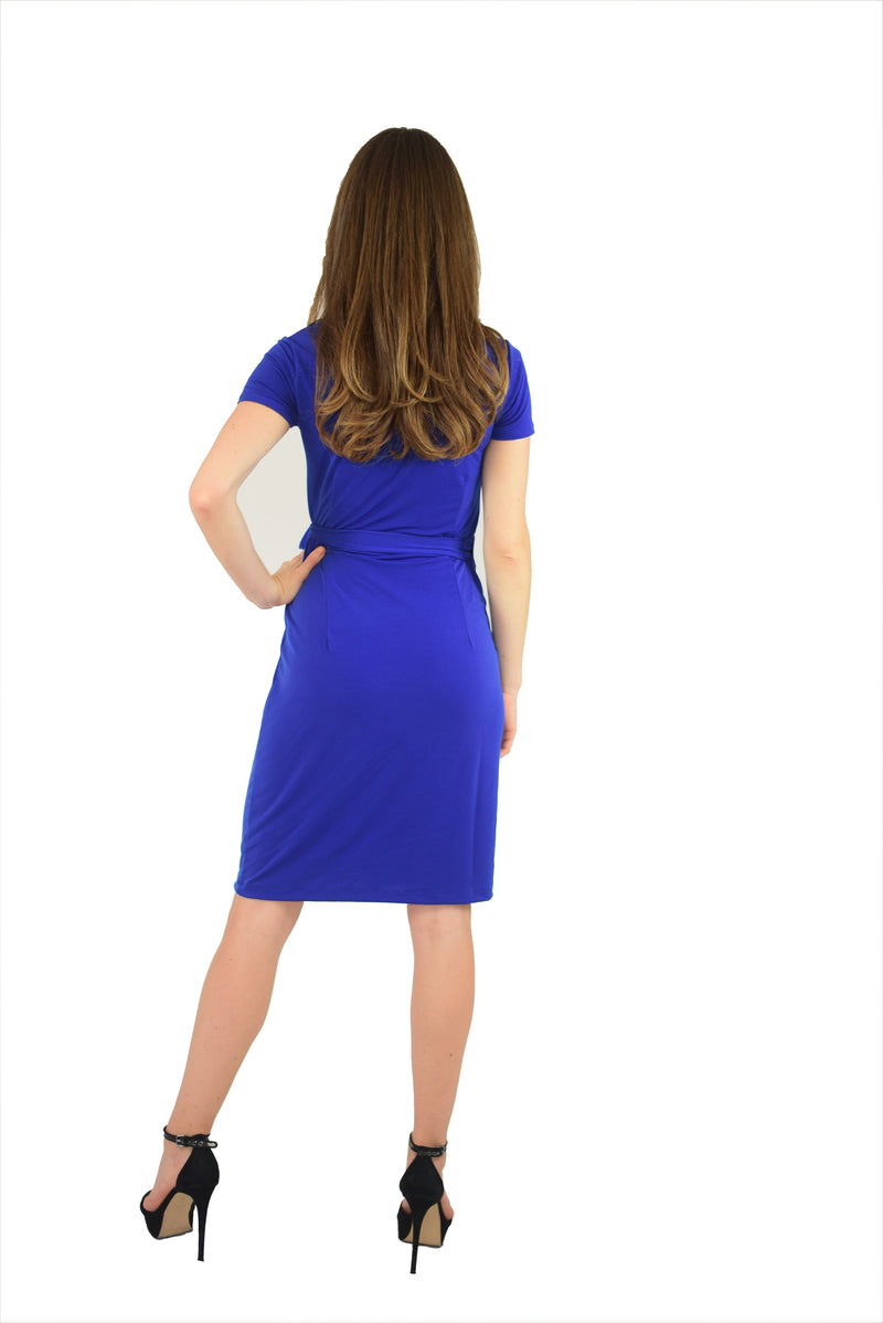 Classic Fit Wrap Dress, Cap Sleeve, Royal Blue