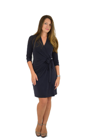 Classic Fit Wrap Dress, Sleeve Less, Grey