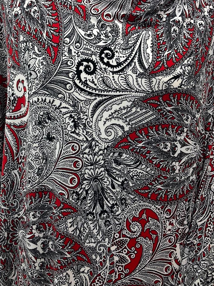 A-Line Wrap Dress, Three-Quarter Sleeve, with Collar, Black and White Paisley