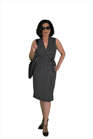 Classic Fit Wrap Dress, Cap Sleeves, Black