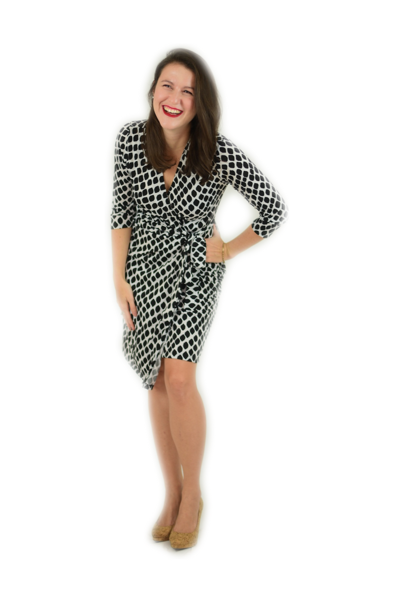 Classic Fit Wrap Dress, Leaf Print in Black and White