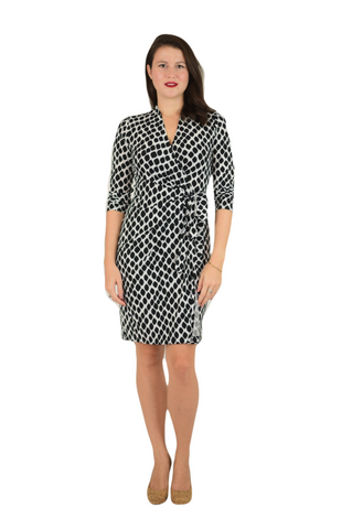Classic Fit Wrap Dress, Sleeve Less, Animal Print