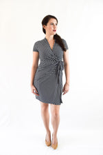 Classic Fit Wrap Dress Mini Polka Dot, Navy Blue