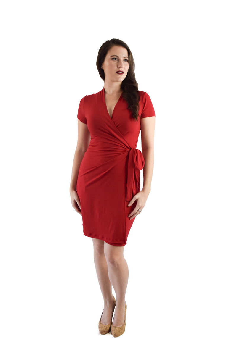 Classic Fit Wrap Dress, Cap Sleeves, Red