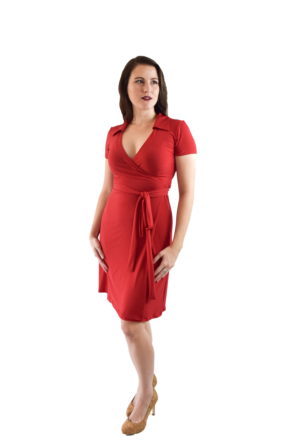 A-Line Wrap Dress, Cap Sleeves with Collar, Red