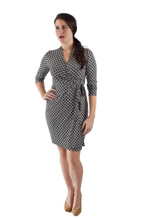 Classic Fit Wrap Dress, Black and White Diamond Print