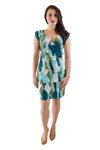 Faux Wrap Dress, Blue, Green and White Print