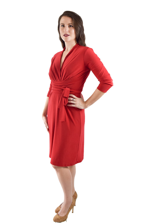Bust Wrap Dress, Red