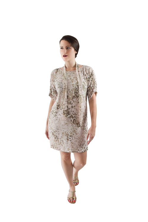 Button Sleeve Dress, Eclectic Animal Print