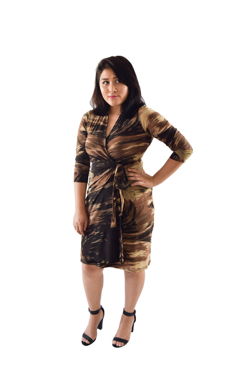 Classic Fit Wrap Dress, G.I. Jane Army Print