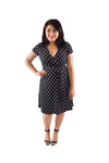 A-Line Wrap Dress, Cap Sleeves with Collar, B&W Polka Dot