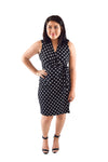 Classic Fit Wrap Dress, B&W Polka Dot