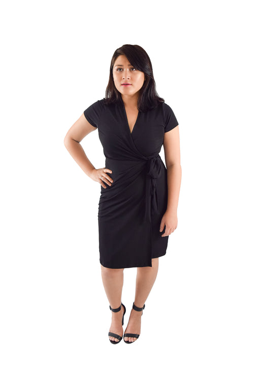 Classic Fit Wrap Dress, Black