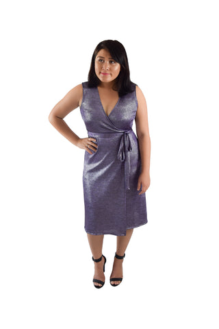 A-Line Wrap Dress, Cap Sleeves, Royal Blue