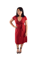 A-Line Wrap Dress, Cap Sleeves No Collar, Deep Red
