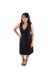 A-Line Wrap Dress, No Sleeves with Collar, Black