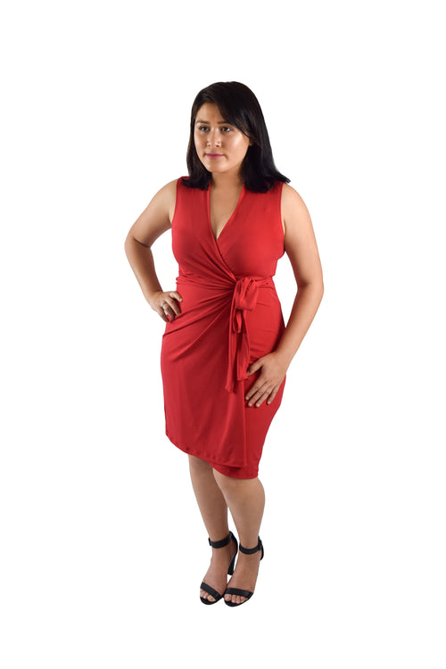 Classic Fit Wrap Dress, Red