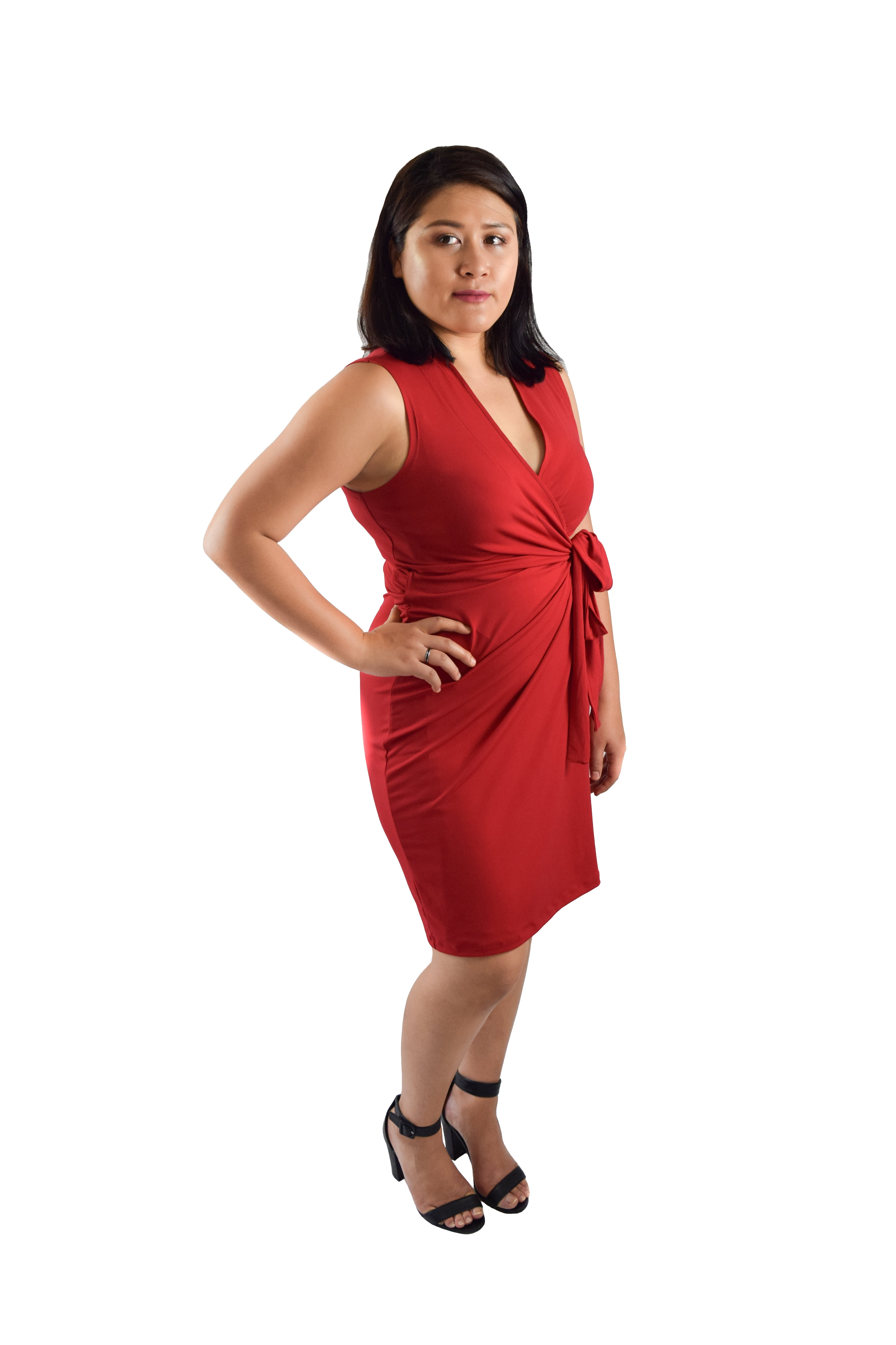 Classic Fit Wrap Dress, Sleeveless, Red