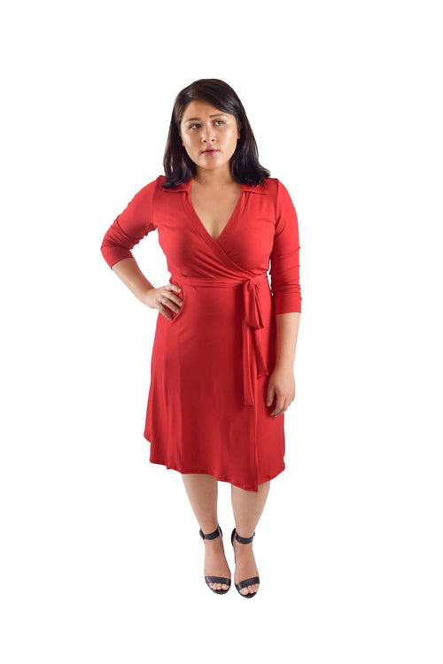 A-Line Wrap Dress, Red