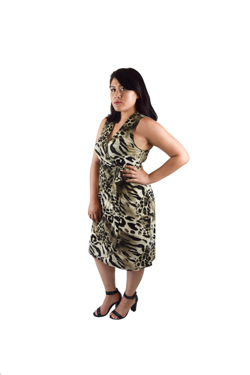 Classic Fit Wrap Dress, Animal Print