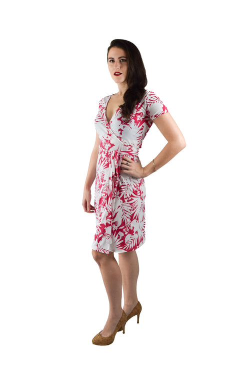 A-Line Wrap Dress, Pink and White Floral Print