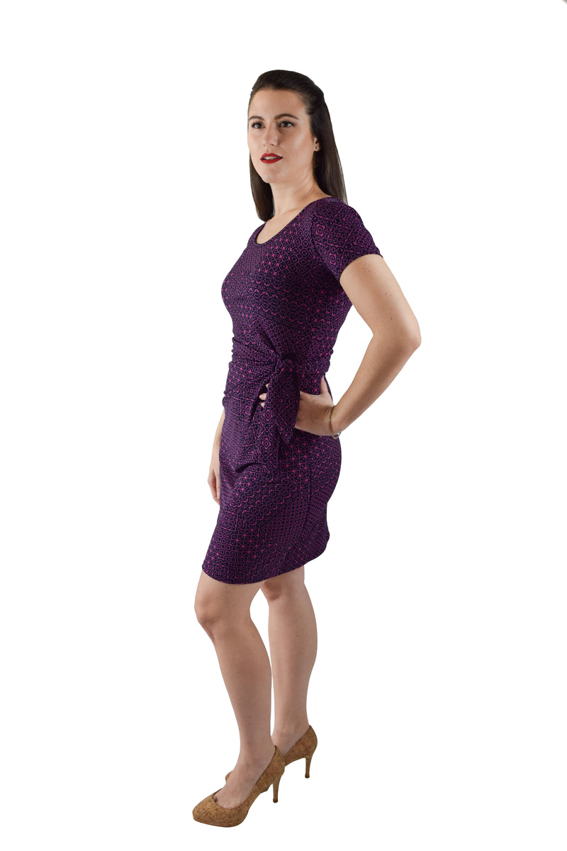 Boat Neck Faux Wrap Dress, Pink and Purple Print_OFFER!!
