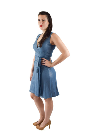 A-Line Wrap Dress, Sleeveless with Collar, Blue