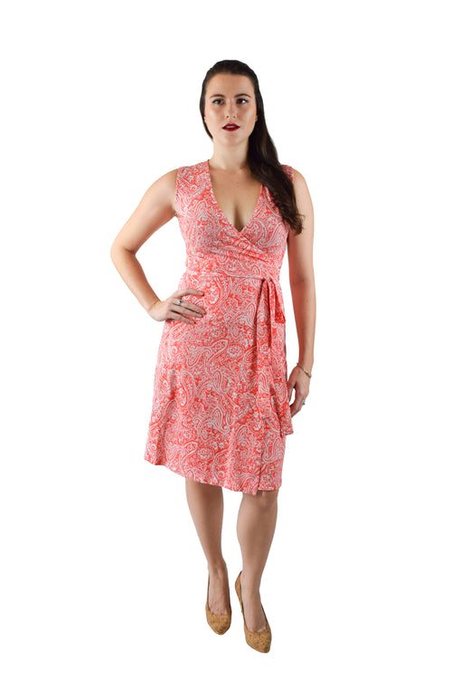 A-Line Wrap Dress, Orange Paisley