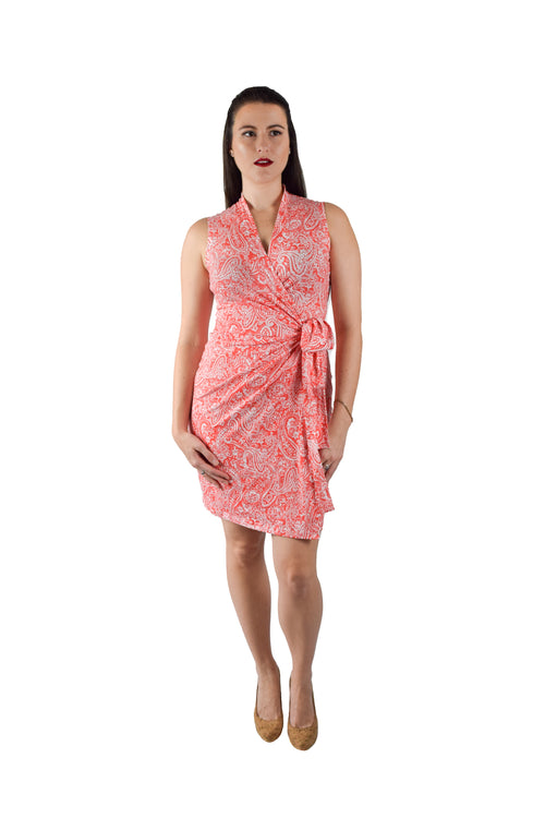 Classic Fit Wrap Dress, Orange Paisley