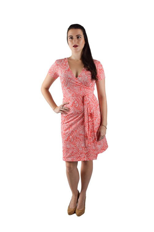 A-Line Wrap Dress, Cap Sleeves, Orange Paisley