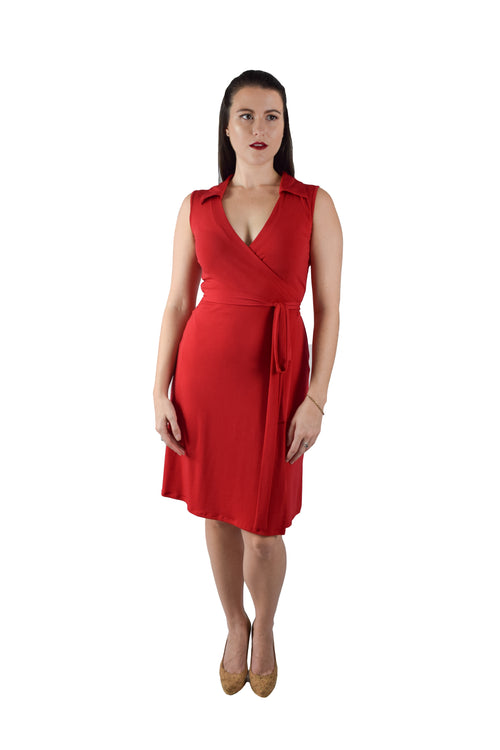 A-Line Wrap Dress, Sleeveless with Collar, Red