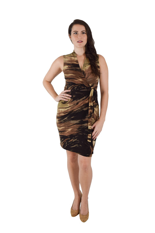 Classic Fit Wrap Dress, Sleeveless,  G.I. Jane Army Print