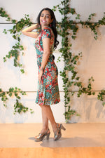A-Line Wrap Dress, Cap Sleeves, No Collar, Happy Flowers Print