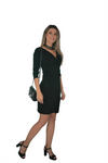 Faux Wrap Dress with Long (3/4) Sleeves, Black (NEW)!