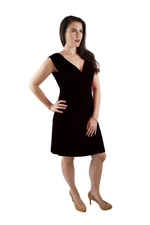 Faux Wrap Dress, Black