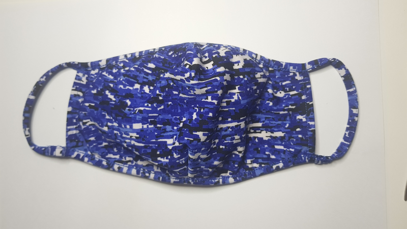 Fashion Mask - Blue Matrix Print