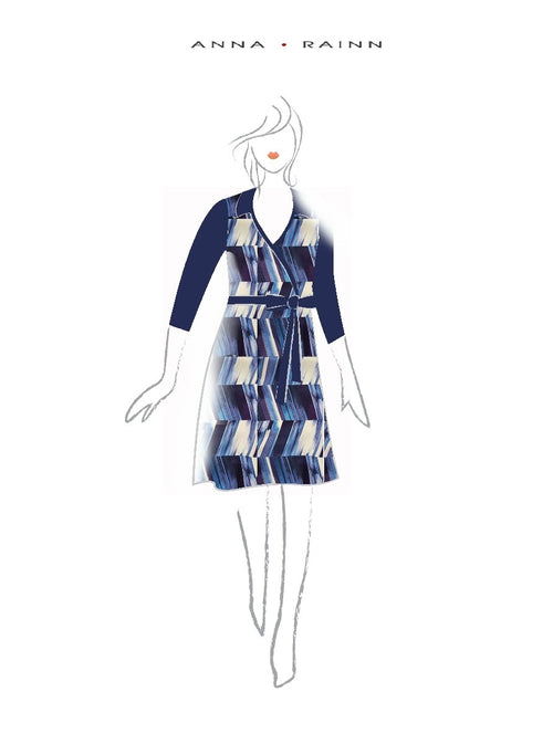 A-Line Wrap Dress, Three-Quarter Sleeve, with Collar, Blue Zig Zag stripes