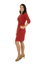 Classic Fit Wrap Dress, 3/4 Sleeves, Red