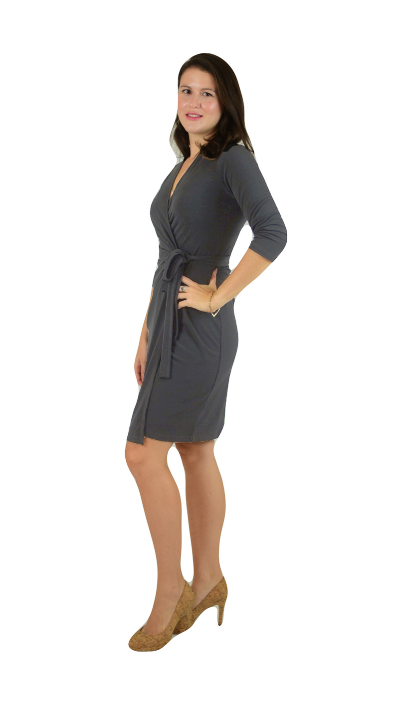Classic Fit Wrap Dress, 3/4 Sleeves, Grey