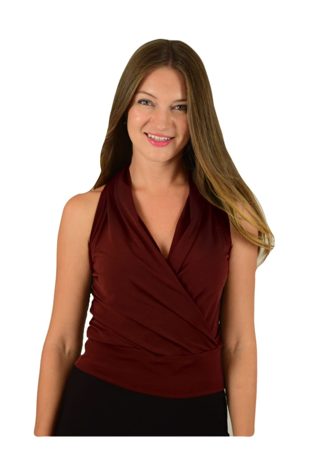 Signature  Sleeve Less Faux Wrap Top - Chocolate (NEW!)