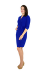 Classic Fit Wrap Dress, 3/4 Sleeves, Royal Blue