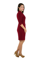 Classic Fit Wrap Dress, 3/4 Sleeves, Maroon