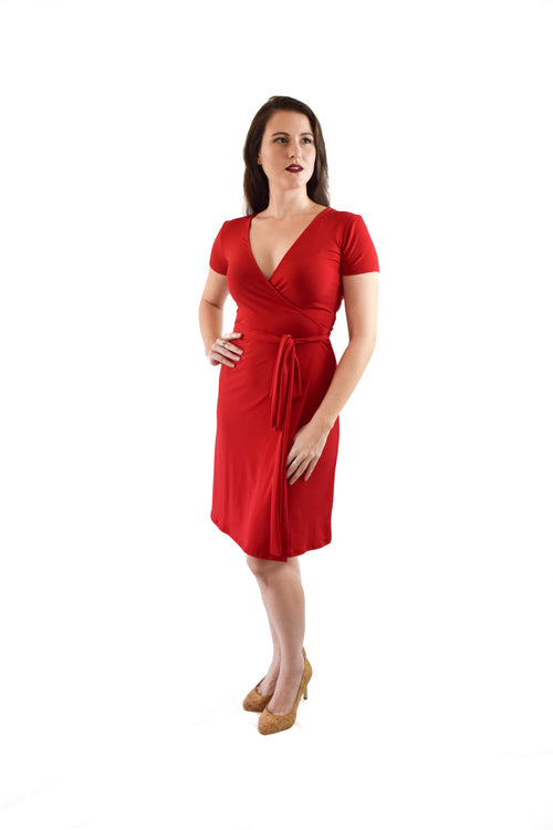 A-Line Wrap Dress, Cap Sleeves No Collar, Red